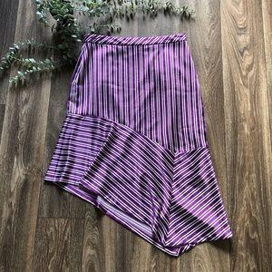 Banana Republic Purple Striped Asymmetrical Skirt